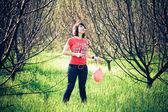 Beautiful woman with balloon — Stock Photo