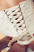 Bröllop klänning korsett — Stockfoto