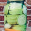 Marinated Vegetables in glass banks — Stock Photo