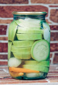 Marinated Vegetables in glass banks — Stockfoto