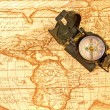 Compass on world map — Stock Photo