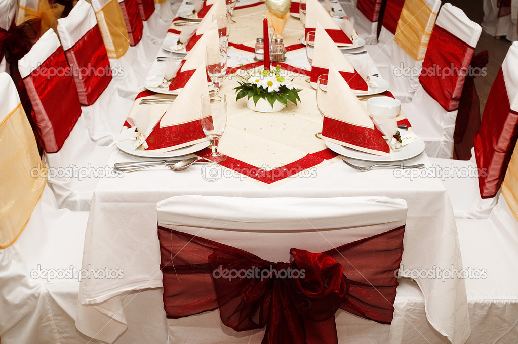 Restaurant party table with served settings   Stock Photo #1746001