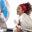 Ventilator and woman — Stock Photo #1759893