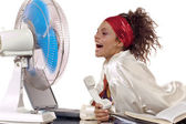 Ventilator and woman — Stock Photo