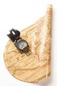 Compass on world map — Stock Photo