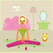Girl-yoga — Stock Vector