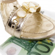 Sandal on the 100 euro banknote — Stock Photo