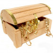 Treasure chest of golden jewels - Stock Photo