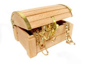 Treasure chest of golden jewels — Stock Photo