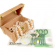 Pearls and euros — Stock Photo