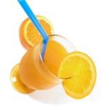 Orange juice (bird's eye) — Stock Photo
