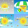 Sun through the seasons - Imagens vectoriais em stock