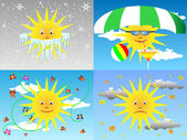 Sun through the seasons — Stock Vector