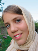 Portrait of teenage girl with headscarf — Stock Photo