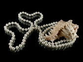 Hearts, pearls and shell — Stock Photo