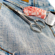 Jeans and tailor accessories - Stock Photo