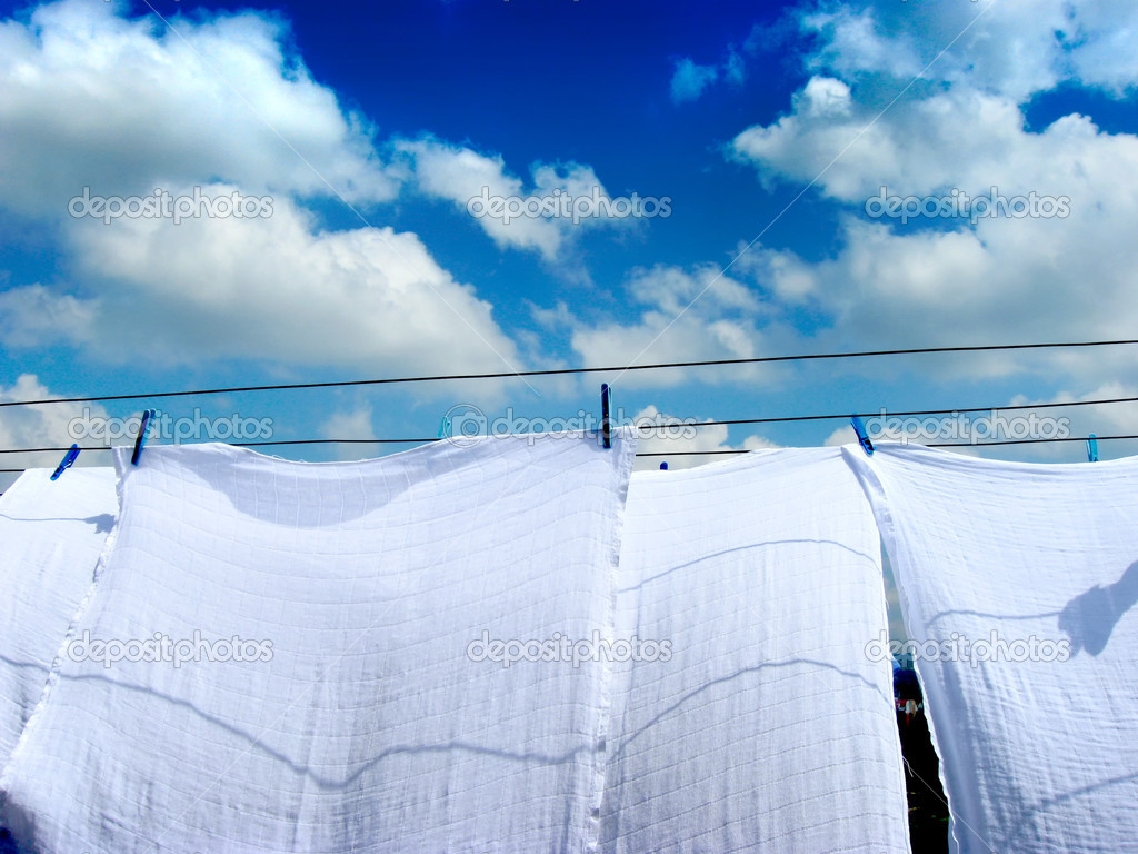 Diaper are drying on the rope — Stock Photo #1878388