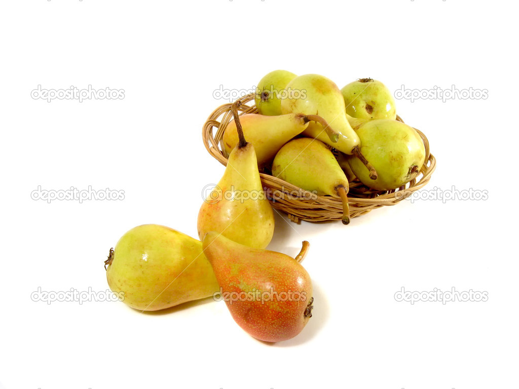 Pears and full punnet of pears in the background  Stock Photo #1899545