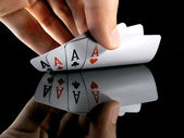 Four aces in the hands — Stock Photo