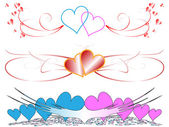 Vector banners with hearts — Stock Vector
