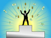 The success of a young businessman — Stock Vector