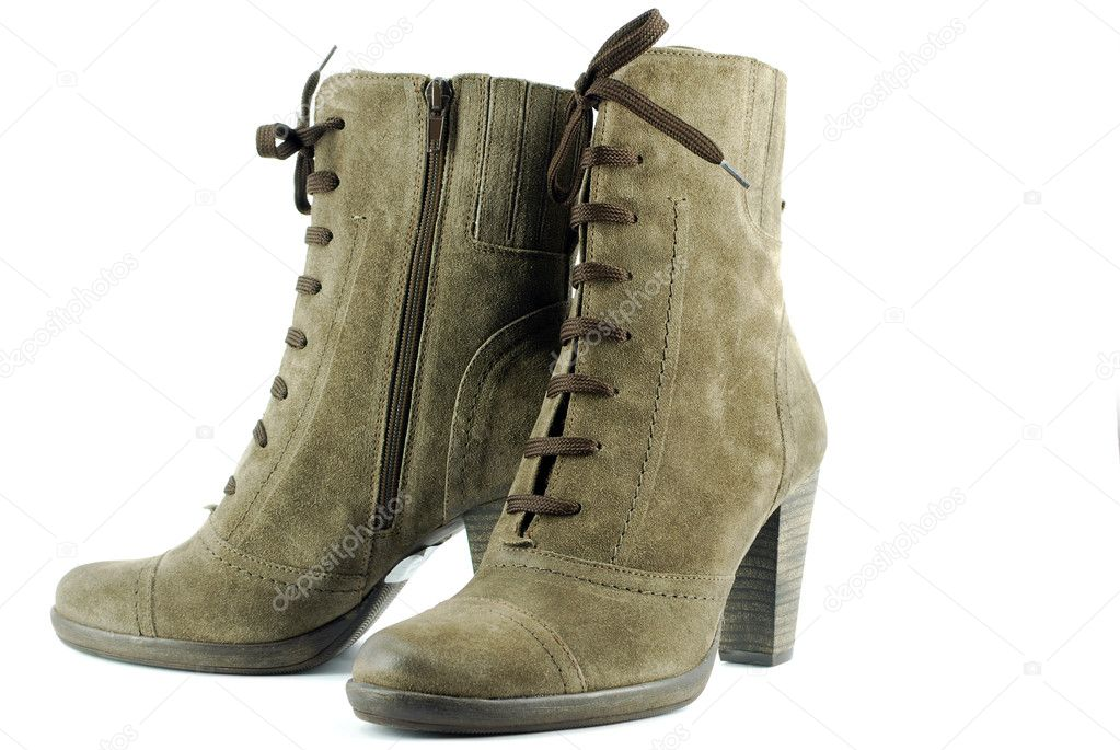 Woman brown leather high heel boots — Stock Photo #1642874