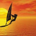 Windsurfer silhouette — Stock Photo