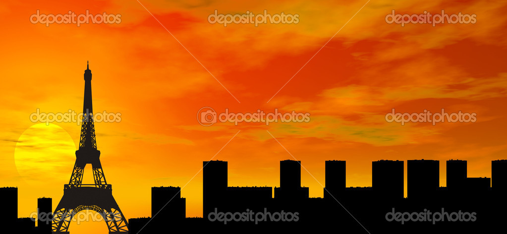 Sunset over Paris illustration — Stock Photo #1694253