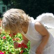Angel and flower — Stock Photo