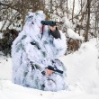 Stock Photo: Army recon in winter camouflage uniform