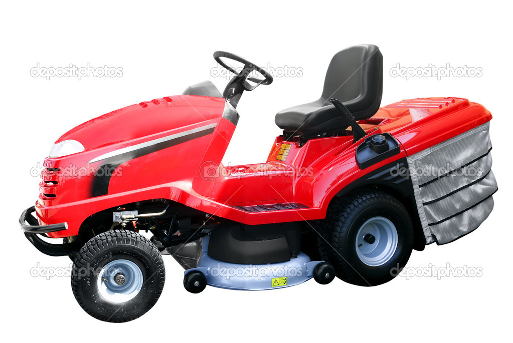Red lawn-mower isolated  Stock Photo #1706867