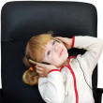 Little girl with headphones — Stock Photo #1759199