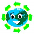 Royalty-Free Stock Vector Image: Planet earth with recycle symbol