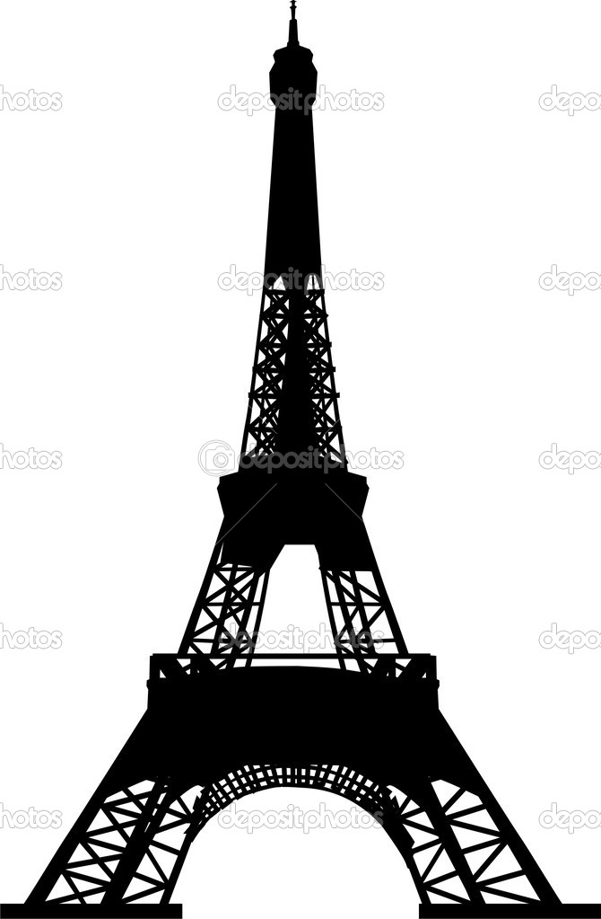 埃菲尔铁塔矢量插画的剪影