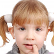 Little girl with finger in mouth — Stock Photo #2111339
