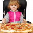 Little girl with pizza — Stock Photo #2236898