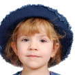Little girl with blue jeans hat — Stock Photo