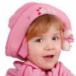 Little girl with pink hat and scarf — Stock Photo