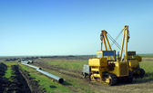 Construction site with gas pipeline — Stock Photo