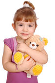 Little girl with teddy bear toy — Stock Photo