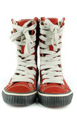 Red tall sneakers shoes — Stock Photo
