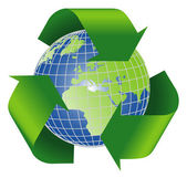 Recycle symbol with planet earth — Stock Photo