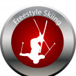 Winter game button freestyle skiing — Stock Photo