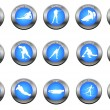 Vector set of winter sport buttons - Stock Photo