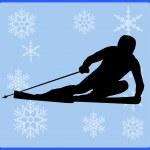 Winter game button alpine skiing — Stock Photo