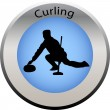 Stock Vector: Winter game button curling