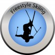 Winter game button freestyle skiing — Imagen vectorial