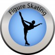 Winter game button figure skating — Stock Vector