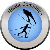 Winter game button nordic combined — Stock Vector
