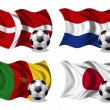 Soccer team flags group E — Stock Photo
